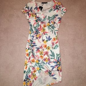 Stretchy Fitted White Floral Wrap Style Dress